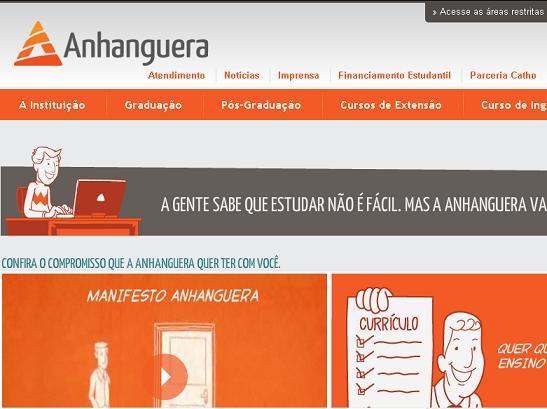 Site Faculdade Anhanguera – www.anhanguera.com