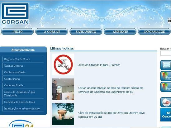 Site CORSAN – www.corsan.com.br