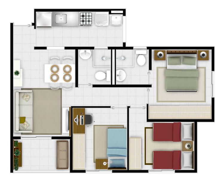 Plantas de apartamentos de 3 quartos dicas e modelos for Apartamento modelo