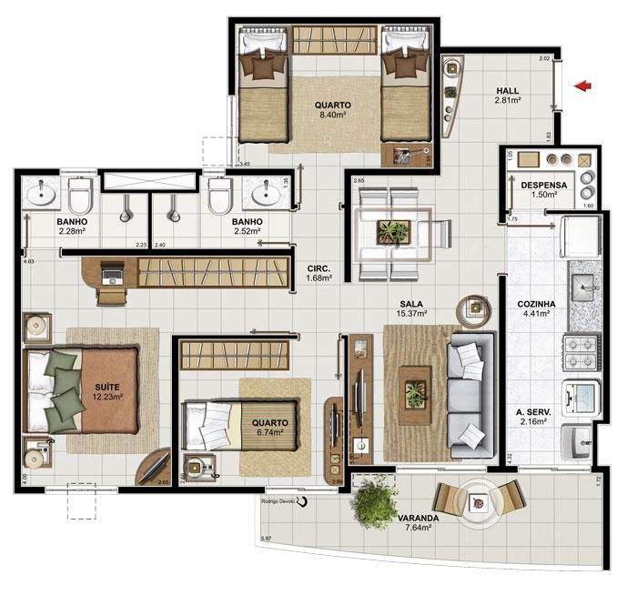 Plantas de apartamentos de 3 quartos dicas e modelos for Jardins mangueiral planta 3 quartos