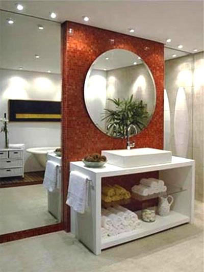 Espelhos para Banheiros  Fotos e Dicas de Como Escolher -> Pia De Banheiro Com Espelho