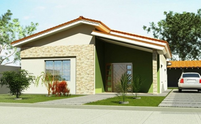Frentes e fachadas de casas populares fotos e modelos for Fachadas de frente de casas