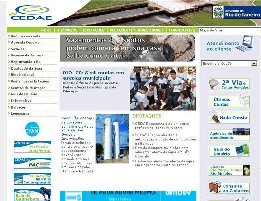 Site CEDAE – www.cedae.com.br