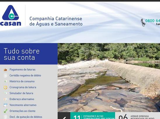 Site CASAN, www.casan.com.br