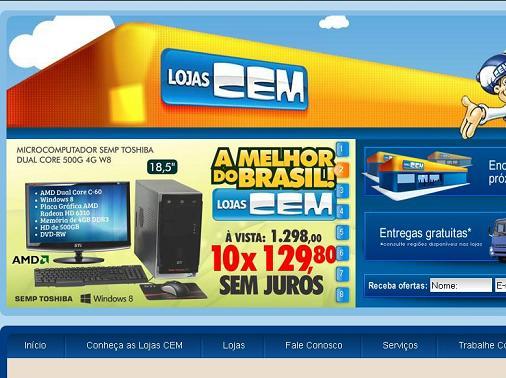 Site Lojas CEM, www.lojascem.com.br