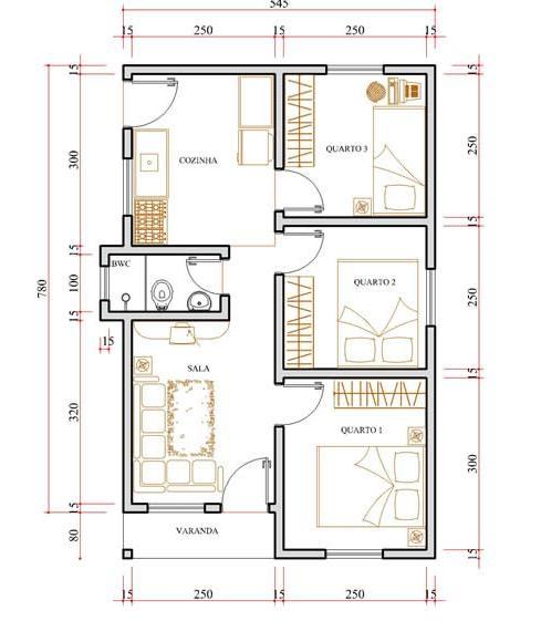 Plantas de casas gr tis modelo de planta baixa e projetos for Mobiliario para casas pequenas