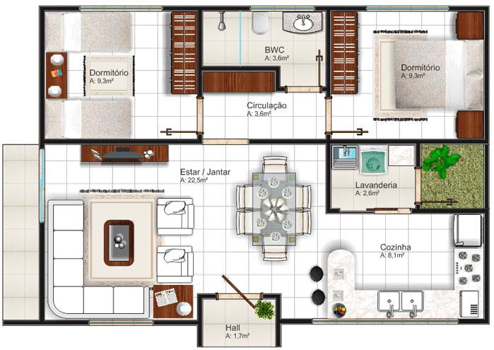 Plantas de casas com dois quartos modelos dicas for Layout casas modernas