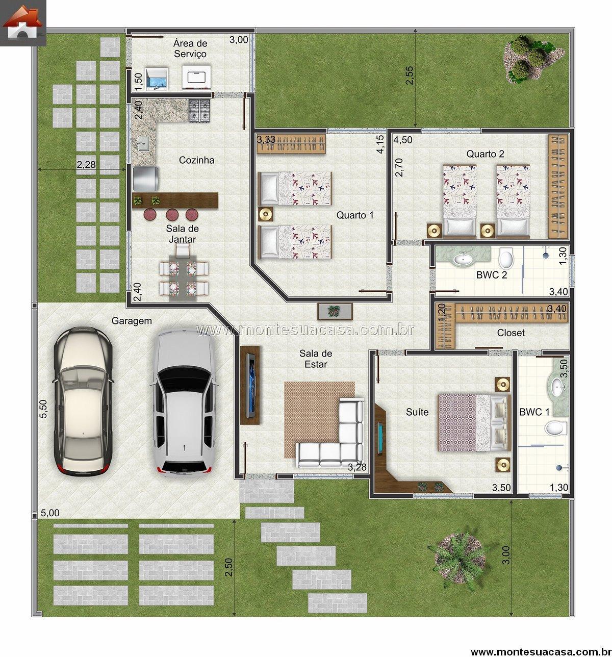 Projetos para casas de 3 quartos modelos detalhes for Casa de tres plantas sylvanian