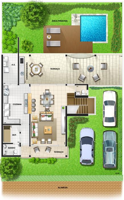Plantas de casas com piscinas simples modelos dicas for Modelos piscinas pequenas para casas