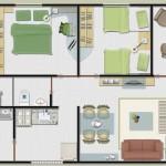 Plantas de Casas com 2 Quartos – Fotos e Modelos